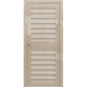 Дверь Женева, глянец мокко, светлое стекло
