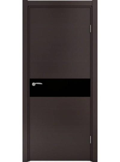 Дверь Ф-2 Лиственница темная, черное стекло