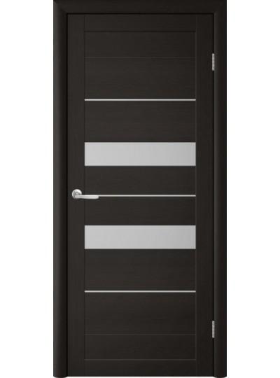 Дверь Т-4 Лиственница темная, белое стекло