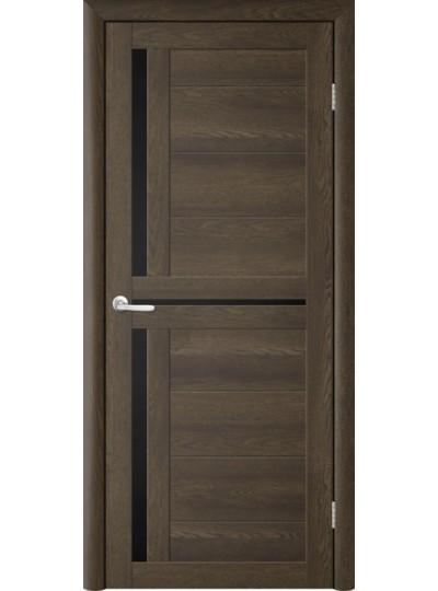 Дверь Т-5 Дуб Оксфорд, черное стекло