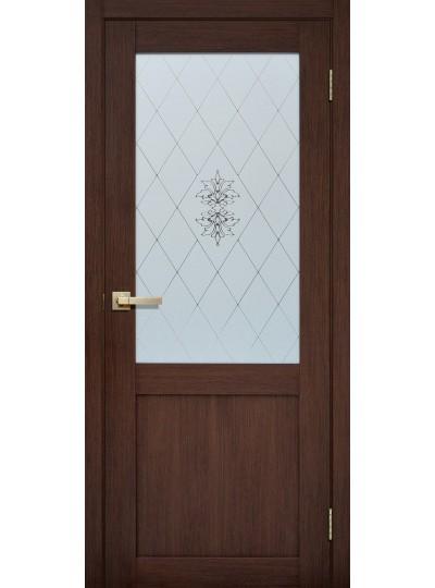 Дверь Fly doors L90 Орех Вельвет, белое стекло