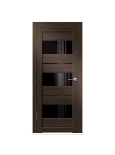 Дверь Green Line Atum Х22, Венге, черное стекло