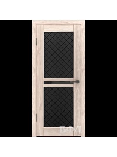 Дверь LINE 12 Л12ПО1, Ромб, Капучино, триплекс черный