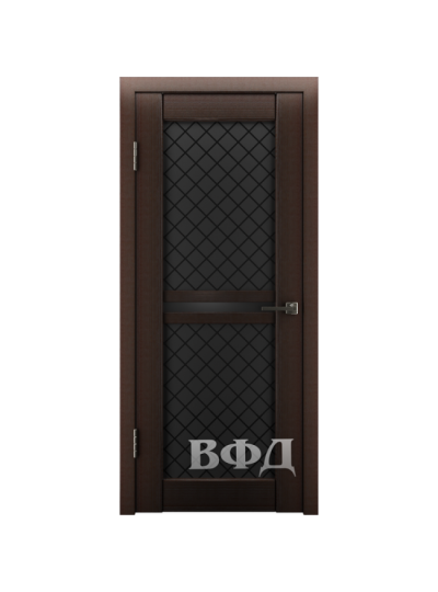 Дверь LINE 12 Л12ПО4, Ромб, Венге, триплекс черный
