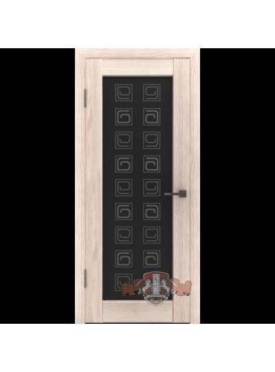 Дверь LINE 8 Л8ПО1, Квадрат, Капучино, триплекс черный