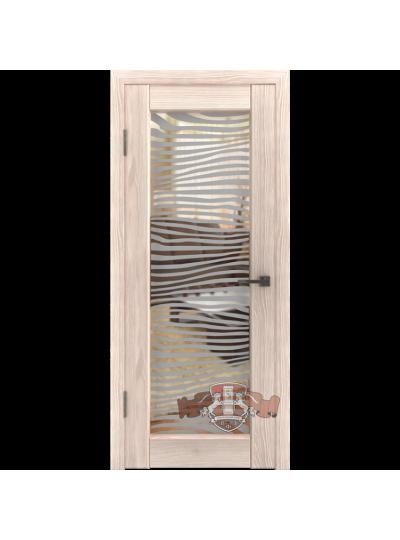 Дверь LINE 8 Л8ПО1, Капучино, Зеркало Зебра