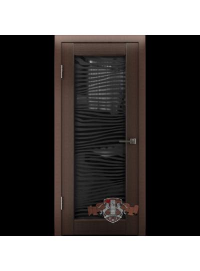 Дверь LINE 8 Л8ПО4, Венге, триплекс черный-Зебра