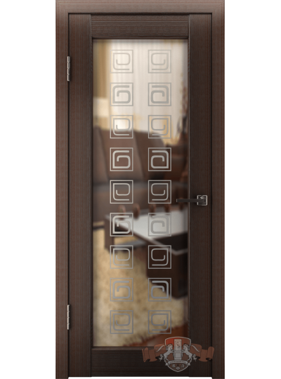 Дверь LINE 8 Л8ПО4, Квадрат, Венге, Зеркало Глянец